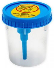 urine collection cup blue top